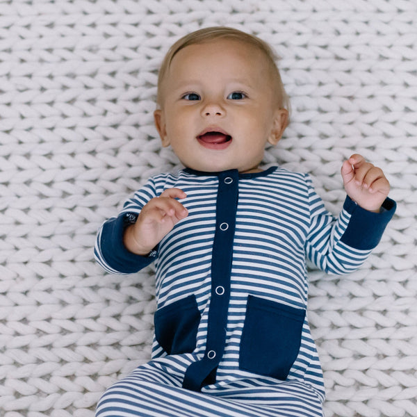 Everyday Essentials - Infant Gown - Tiny Navy Stripe FINAL SALE