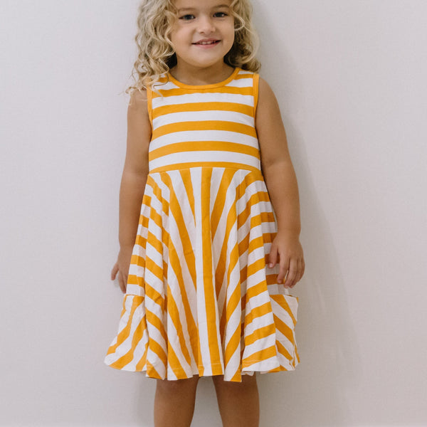 SweetHoney - Game Day Flair Dress -  Big Orange Stripe