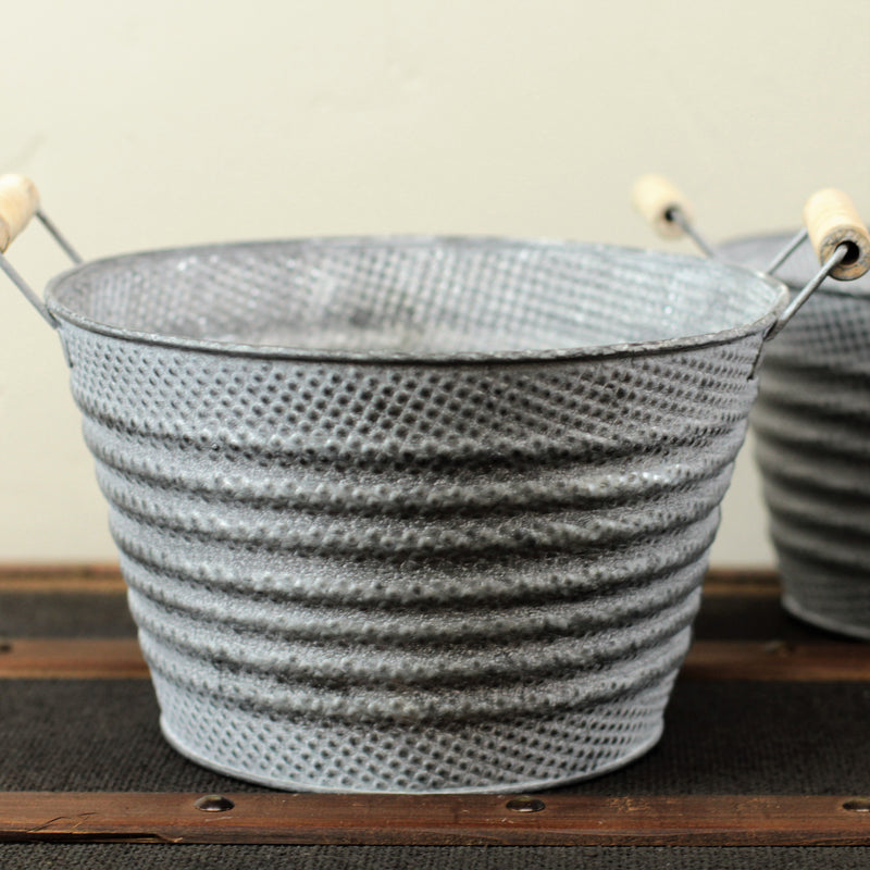 Round Metal Tubs with Wooden Handles