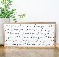 Wood Framed Signboard - I Love You Infinity - Multiple Sizes