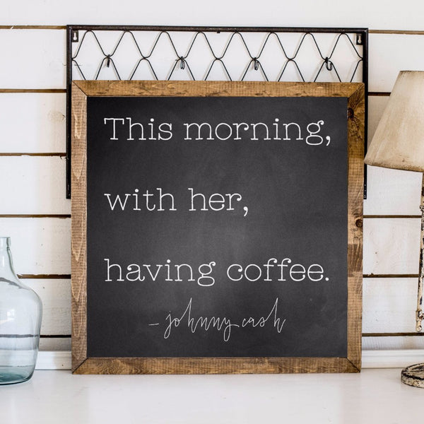 Wood Framed Signboard - Johnny Cash - SQ