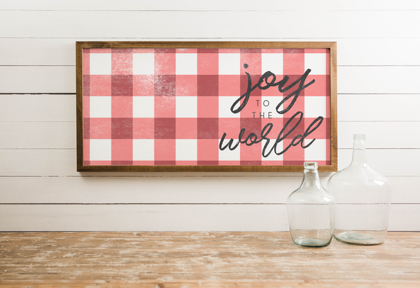 Wood Framed Signboard - Joy to the World - Multiple Sizes