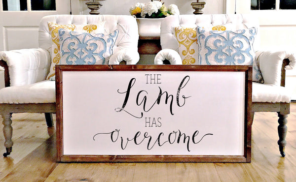 Smallwoods - WOOD FRAMED SIGNS - Wood Framed Signboard - The Lamb Has Overcome  - 1
