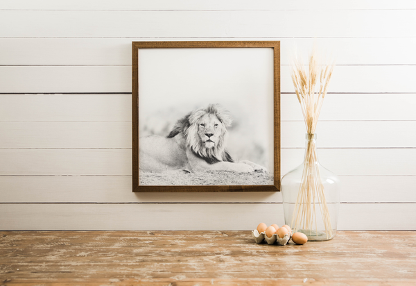 Wood Framed Signboard - Lion - Multiple Sizes [CLOSEOUT]