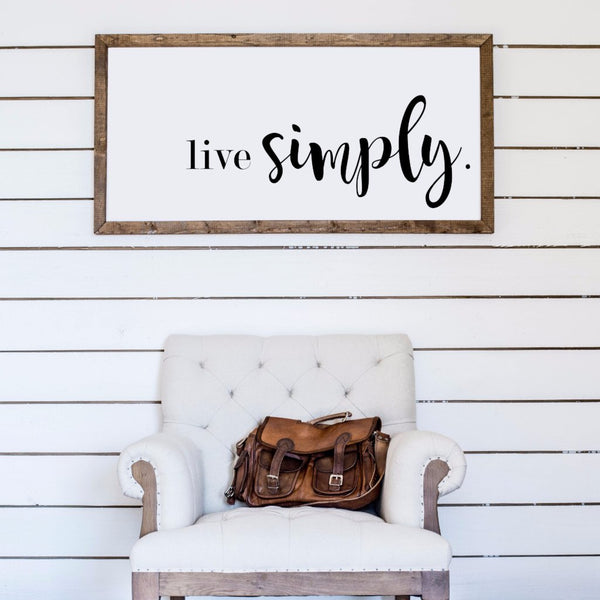 Wood Framed Signboard - Live Simply - XL - 45x23