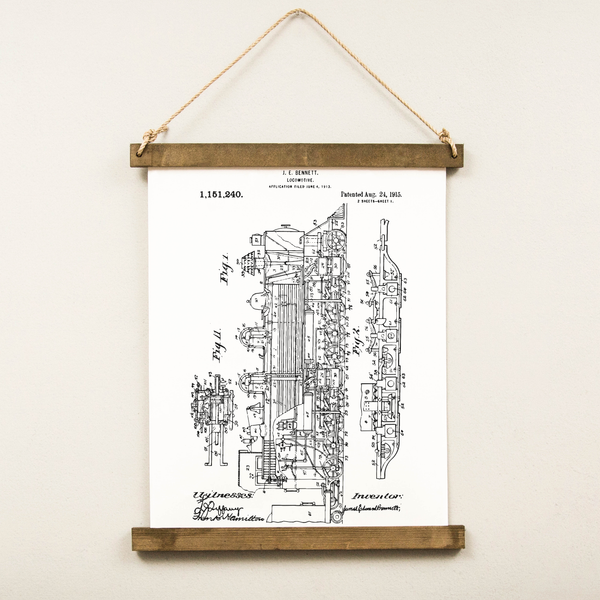 Canvas Hanging Print - Locomotive Patent [CLOSEOUT]