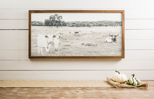 Wood Framed Signboard - Longhorns - Multiple Sizes [CLOSEOUT]