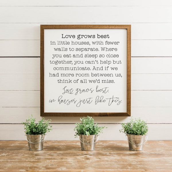 Wood Framed Signboard - Love Grows Best [CLOSEOUT]