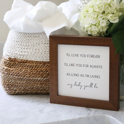 Wood Framed Signboard - Love You Forever - Multiple Sizes