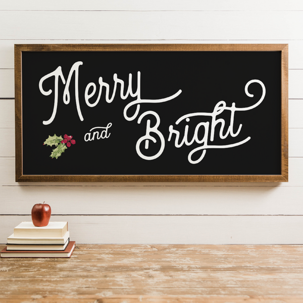 Wood Framed Signboard - Merry & Bright - Multiple Sizes [HOLIDAY18]