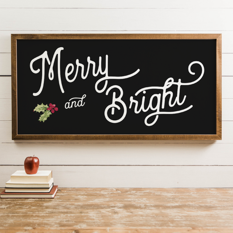 Wood Framed Signboard - Merry & Bright - Multiple Sizes