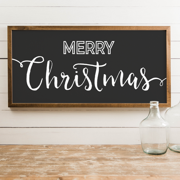 "Wood Framed Signboard - Merry Christmas - XL - 44""x22"" [HOLIDAY18]"