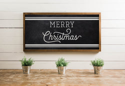Wood Framed Signboard - Merry Christmas Stripes - Multiple Sizes [HOLIDAY18]