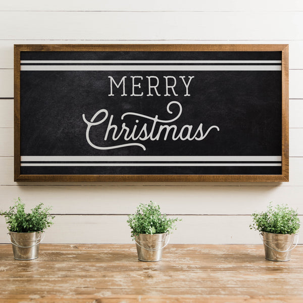 Wood Framed Signboard - Merry Christmas Stripes - Multiple Sizes