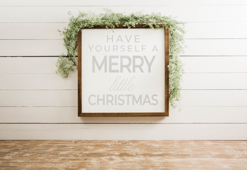 Wood Framed Signboard - Merry Little Christmas - Multiple Sizes