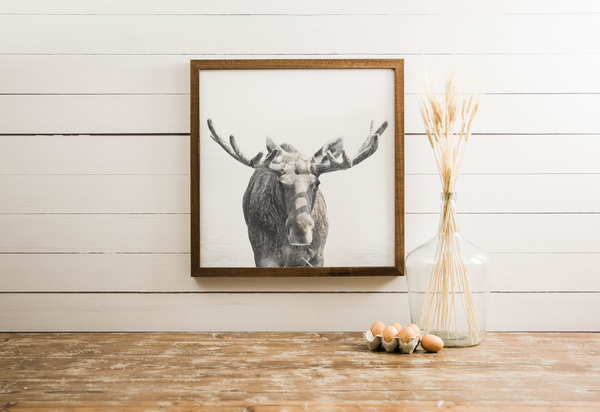 Wood Framed Signboard - Moose