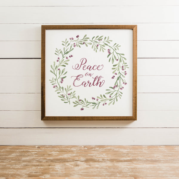 Wood Framed Signboard -Peace On Earth - Multiple Sizes