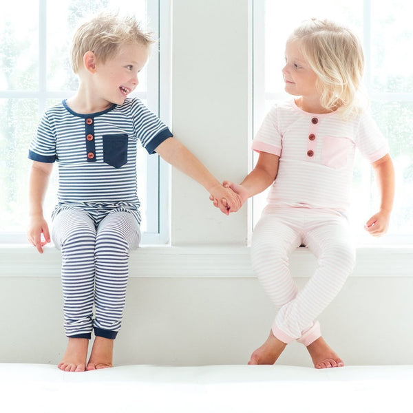 Everyday Essentials - 2-Piece Loungewear - Tiny Navy Stripe