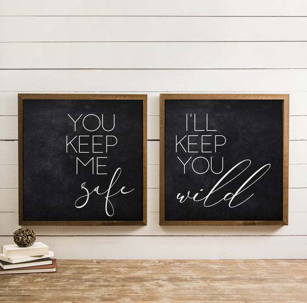 Wood Framed Signboard - Safe & Wild - [DUO]