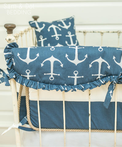 Sam & Dot - Bedding - New Year Sale - Sam & Dot Crib Bumper Set - Navy and White Stripe