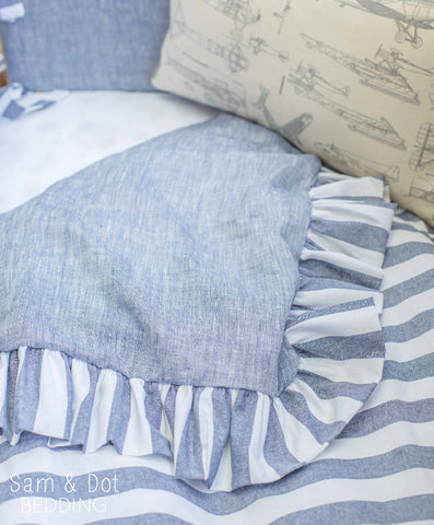Sam & Dot - Bedding - Sam & Dot Nap Mats/Crib Duvets - Chambray and White Stripe