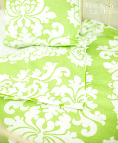 Sam & Dot - Bedding - Sam & Dot Nap Mats/Crib Duvets - Green Damask (Black Friday)  - 1