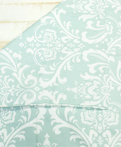 Sam & Dot - Bedding - Sam & Dot Nap Mats/Crib Duvets - Powder Blue Damask (Black Friday)