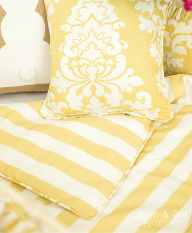 Sam & Dot - Bedding - Sam & Dot Nap Mats/Crib Duvets - Saffron Stripe and Damask (Black Friday)  - 1