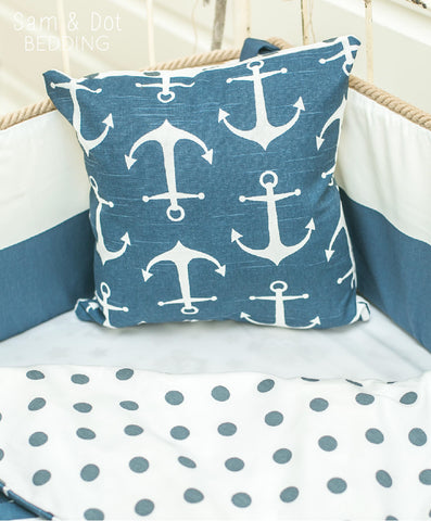 Sam & Dot - PILLOW/BEDDING - Sam & Dot Square Pillow Sham - Anchors with Dots  - 1