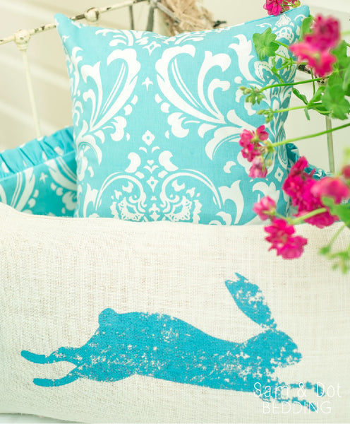 Sam & Dot - PILLOW/BEDDING - Sam & Dot 15x15 Square Pillow Sham - Aqua Damask