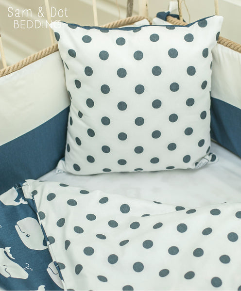 Sam & Dot - PILLOW/BEDDING - Sam & Dot Square Pillow Sham - Whales with Dots  - 2