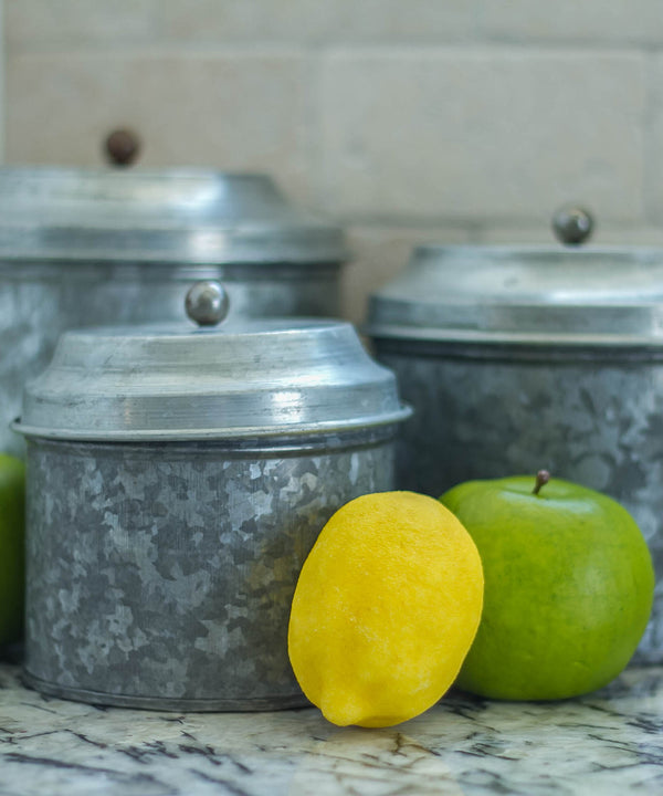 Smallwoods - ACCESSORIES,DECOR,GIFT - Short Galvanized Canister Set  - 2