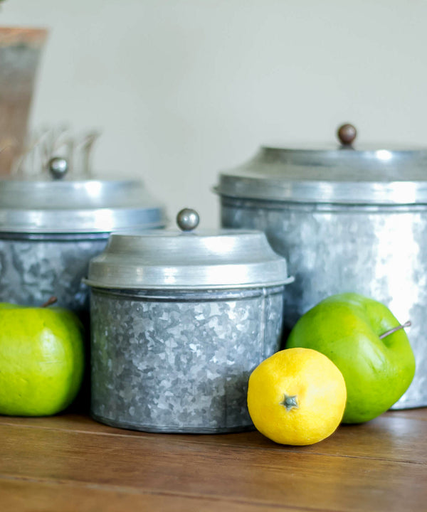 Smallwoods - ACCESSORIES,DECOR,GIFT - Short Galvanized Canister Set  - 1