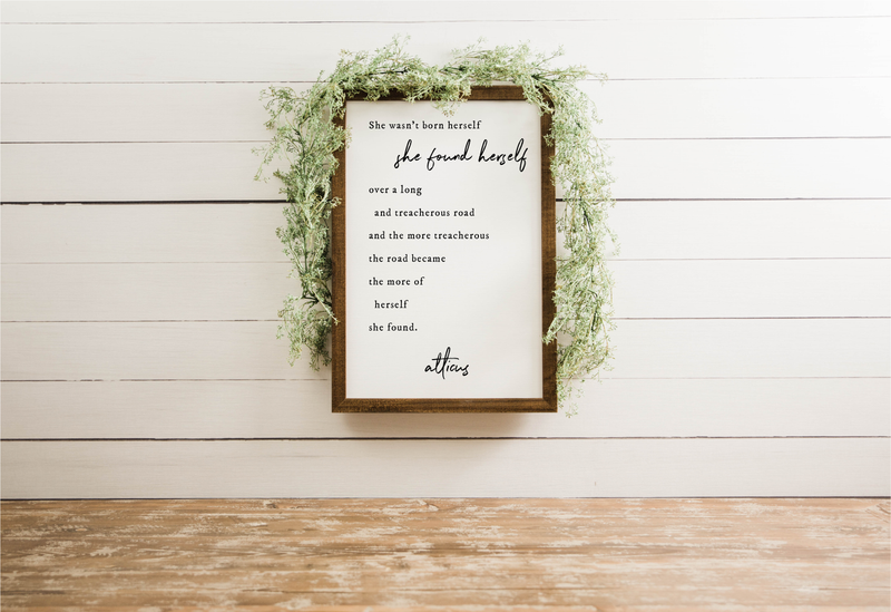 "Wood Framed Signboard - She Found Herself - M - 17"" x 25"" [CLOSEOUT]"