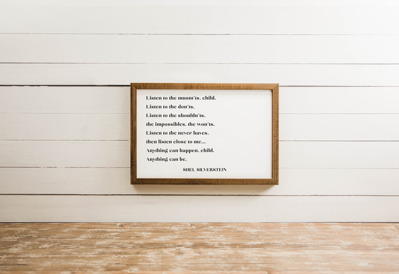 Wood Framed Signboard - Shel Silverstein - Multiple Sizes [CLOSEOUT]
