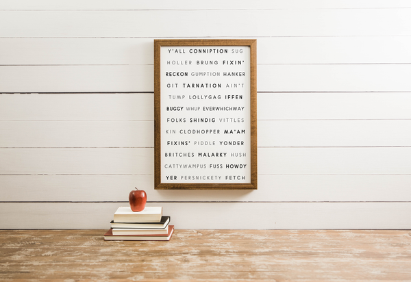 Wood Framed Signboard - Southern Words - M [CLOSEOUT]