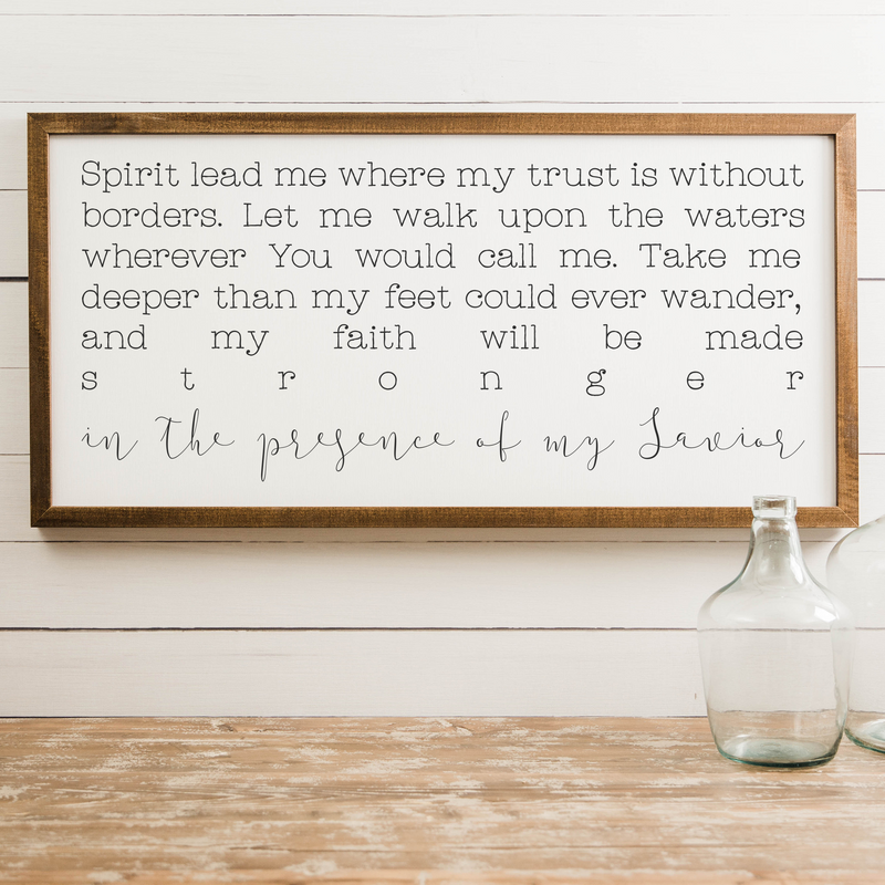 Wood Framed Signboard - Spirit Lead Me - XL - 44x22