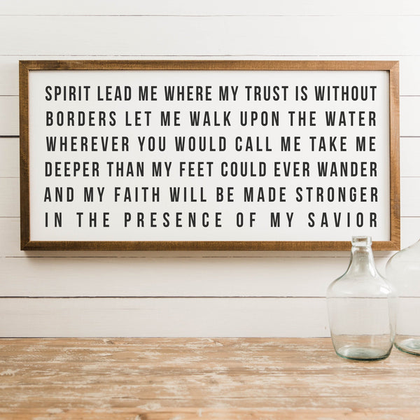Wood Framed Signboard - Spirit Lead Me [Block Font] - Multiple Sizes