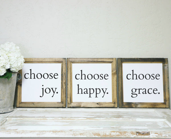 Smallwoods - WOOD FRAMED SIGNS - Wood Framed Signboard - Choose Joy | Choose Happy | Choose Grace Trio