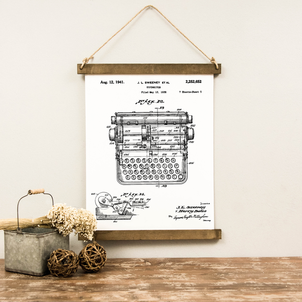 Canvas Hanging Print - Typewriter Patent [CLOSEOUT]