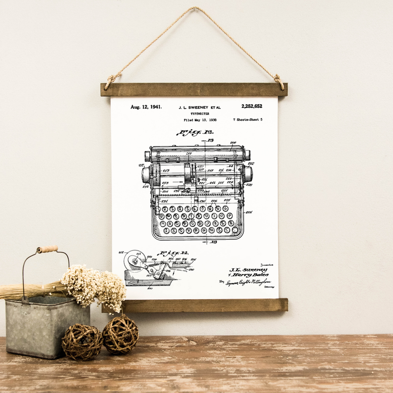 Canvas Hanging Print - Typewriter Patent
