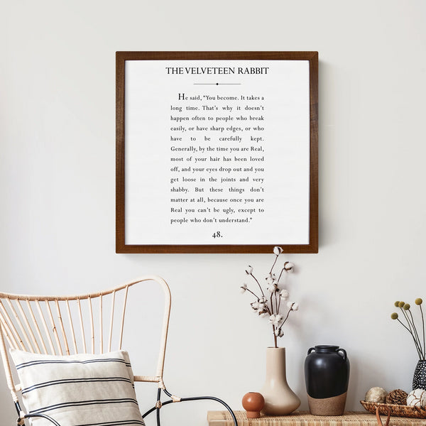 Wood Framed Signboard - Velveteen Rabbit - Multiple Sizes