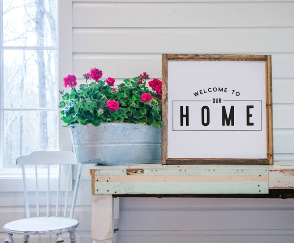Wood Framed Signboard - Welcome to Our Home - Square - 26x26