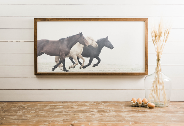 Wood Framed Signboard - Wild Horses - Multiple Sizes [CLOSEOUT]