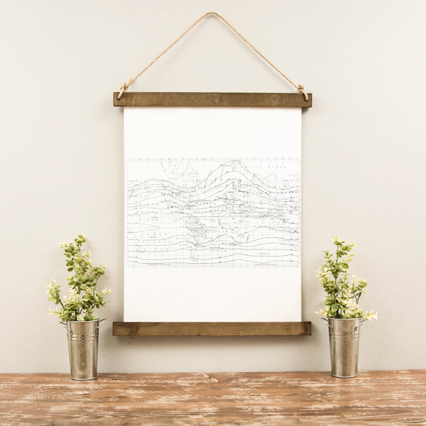 Canvas Hanging Print - World Map Isothermic [CLOSEOUT]