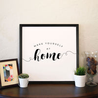 Smallwoods Make Yourself at Home Wood Wall Sign Square Black