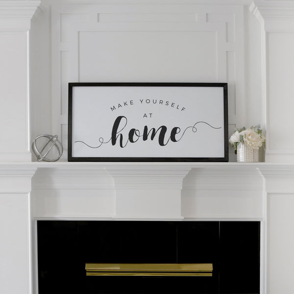 Smallwoods Make Yourself at Home Wood Wall Sign XL Black