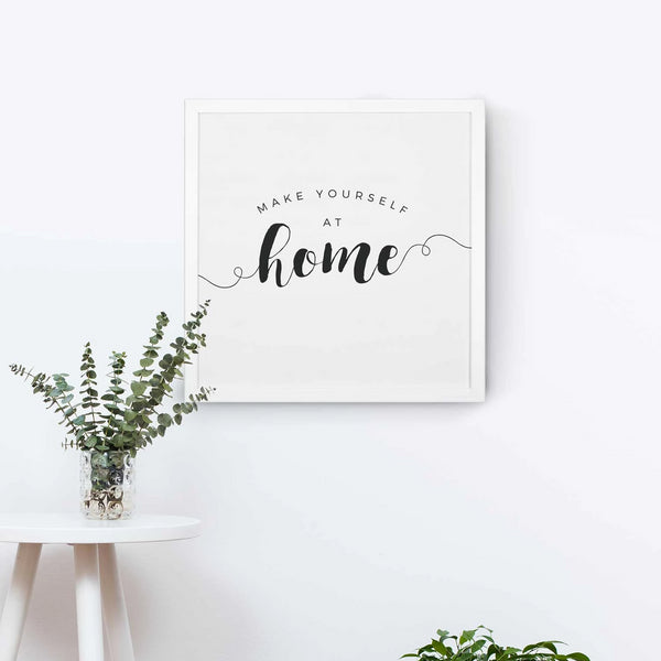 Smallwoods Make Yourself at Home Wood Wall Sign Square White