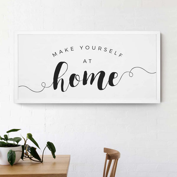Smallwoods Make Yourself at Home Wood Wall Sign XL White