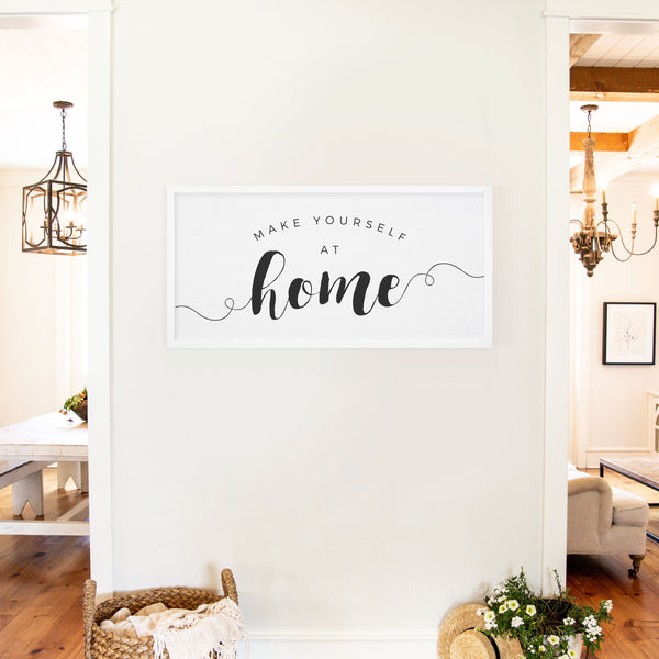 Smallwoods Make Yourself at Home Wooden Sign XL White